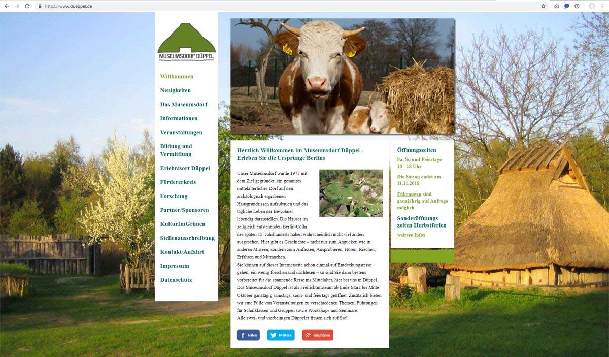 Webseite Museumsdorf Düppel